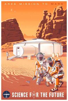 Steve Thomas: 'The Martian' Poster Cosmos, Vintage Space, Space Travel, Retro Futurism, The Martian, Retro Art, Travel Posters, Astronomy, Vintage Posters