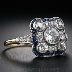Art Deco Diamond and Sapphire Ring - 10-1-4927 - Lang Antiques