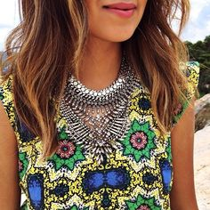 "thecovetedmuse: ""Amazing print dress x fave @dylanlex necklace! #liketkit www.liketk.it/QMk @liketkit """