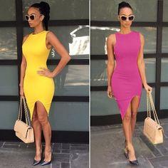 Sexy Women O-Neck Sleeveless Asymmetric Hem Solid Slim Bodycon Split Casual Dress