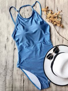 SHARE & Get it FREE   Open Back High Neck One Piece Swimsuit - BlueFor Fashion Lovers only:80,000+ Items • New Arrivals Daily Join Zaful: Get YOUR $50 NOW!