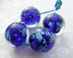 Lampwork Glass Beads Midnight At The Oasis by shineon2 on Etsy, £12.00