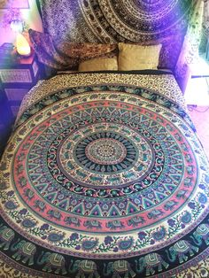 Bohemian Mandala Throw by KAMALASTORE  tapestry, wall hanging, bed throw, beach throw, bed sheet, home decor, picnic rug, sheet, paisley, pattern, hippy