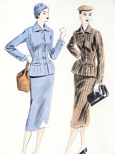 1950s Stunning Suit Pattern Vogue 7444 Nip In Waist Fitted Jacket and Pencil Slim Skirt