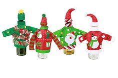 Set of 4 Knit Ugly Sweater Wine Bottle Covers Christmas Decor * This is an Amazon Affiliate link. Visit the image link more details.