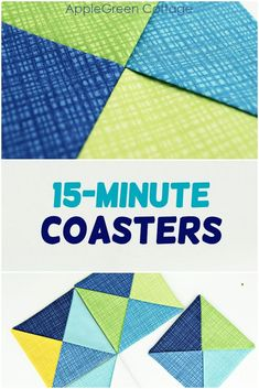 Make cool diy coasters using a smart workaround to get this patchwork look - so clever! It's an easy sewing project with no quilting skills required, easy and cute. You'll love the little hack - no piecing and no quilting involved! #sewing #easycrafts #cutediy #coasters #diy