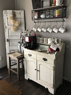My Coffee Bar We refurbished an old Ethan Allen Dry Sink and used it as our coffee bar.   Shelf is from Hobby Lobby