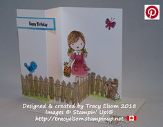 Double z-fold birthday card using the Garden Girl Stamp Set from Stampin' Up!  http://tracyelsom.stampinup.net