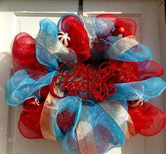 Red and Blue Deco Mesh Christmas Wreath - Christmas Wreath. $50.00, via Etsy.
