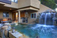 Inspiring Outdoor Kitchen ideas | Decozilla Pool and waterfall