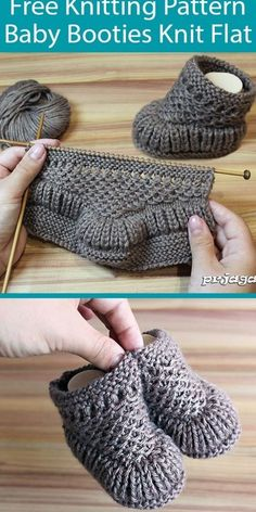 Baby Booties Knitting Pattern, Baby Hats Knitting, Crochet Baby Booties, Knitting For Kids, Knitting Projects, Knitting Ideas, Baby Knitting Patterns Free Newborn, Knit Slippers Free Pattern, Knit Baby Shoes