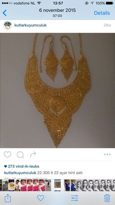 22 Kt Gold Necklace and Earring Set Dubai Gold Jewelry, Gold Rings Jewelry, Pakistani Bridal Jewelry, Indian Wedding Jewelry, Jewellery Design Images, Gold Costume Jewelry, Pinterest Jewelry, Gold Earrings Designs, Jewelry Patterns
