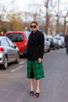 Black blazer, green tartan skirt, and black mules #StreetStyle