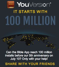 YouVersion Bible App: http://blog.youversion.com/