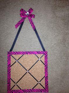 Pink Zebra Cork Board