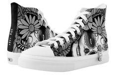 Shop Sugar Skull Black and White High-Top Sneakers created by NDGRags. White High Top Sneakers, White High Tops, Black And White, All Black Converse, Top Shoes, Smart Casual, Japanese Fashion, Woman Face, Sugar Skull