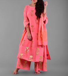 Pink Chanderi Printed Stitched Salwar Kameez With Dupatta