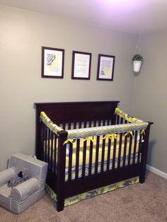 Grey yellow chevron nursery crib Chevron Nursery Boy, Grey Yellow Nursery, Yellow Chevron, Nursery Crib, Cribs, Bed, Furniture, Home Decor, Cots