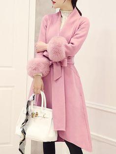 Lapel Pocket Belt Plain Woolen Coat - fashionMia.com