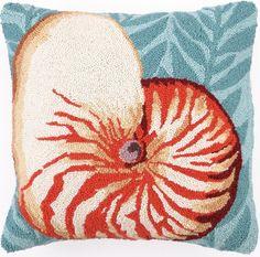 Seaweed Nautilus Hook Pillow: Beach House Decor, Coastal Decor, Nautical Decor, Coastal Living Boutique, Tropical Decor