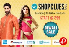 Shopclues #ItneKumMein #DiwaliSale brings Lifestyle #FashionDiwaliSale Starts @ Rs.99 including Women's Fashion, Men's Fashion, Travel & Luggage, Kid's Fashion, Beauty & Perfumes. Extra 10% off from American Express, ICICI Bank, Standard Chartered, Mobikwik and Zero Cost emi from Cashcare.  http://www.paisebachaoindia.com/lifestyle-fashion-diwali-sale-starts-rs-99-shopclues/