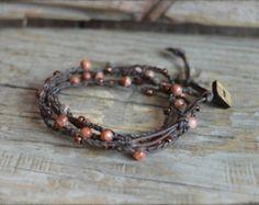 Beaded Crochet Jewelry Crochet Wrap Bracelet Boho Beach