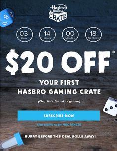 Hasbro's new Gaming Crate subscription box coupon: Save $20!   Hasbro Gaming Crate Coupon: Save $20 On First Box! →  http://hellosubscription.com/2017/10/hasbro-gaming-crate-coupon-save-20-first-box/ #GamingCrate #Hasbro #HasbroGamingCrate  #subscriptionbox