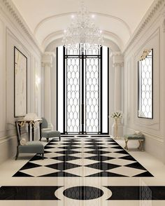 Amazing hallway with cristal chandelier. See my post about at www.blogforlight.com #elegantfoyerdecorating