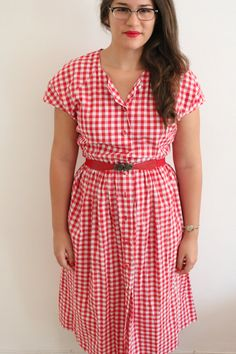 Red and White Gingham Maxi Cotton Shirt by ClementinesBoutique, $36.00