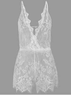 ac669bba2fa Shop for  41% OFF  2018 See Through Plunge Lacy Bodysuit in WHITE ONE SIZE  of Intimates and check 10000+ hottest styles at ZAFUL.
