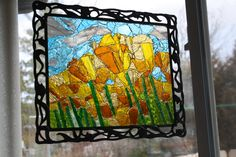 Yellow Tulip Field Mosaic Glass, Stained Glass, Tulip Fields, Yellow Tulips, Mosaic Projects, Stained Glass Panels, Leaded Glass, Mosaic Designs, Fused Glass