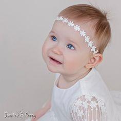 Christening headbandbaptism headband  flower by JasmineAndPoppy