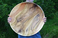 Extremely Large Poplar Wood Bowl, Centerpiece Bowl Hand Turned Palette of Poplar Colors Bowl