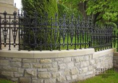 Finely crafted, traditional decorative Victorian cast iron gates and fences are unique to the ornamental metal marketplace because they are ready to install, no fabrication required. Brick Fence, Concrete Fence, Front Yard Fence, Bamboo Fence, Metal Fence, Stone Fence, Low Fence, Front Yards, Fence Landscaping