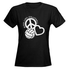 peace+love+volleyball+shirt   ... Girls Sports T-shirts > Peace, Love & Volleyball Women's Dark T-Shirt