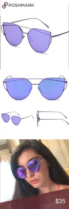 Butterfly Sunglasses  NWT These on trend shades are sure to accent any outfit you're wearing this summer! Don't miss out on the latest trend in sunglasses as seen on fashion bloggers, add these to your collection! Purple cat eye frames with purple lenses! PRICE FIRM  NOTE: Sunglasses come with a fabric case, cloth wipe, and a Hautecoco tag (my personal collection) Lens Width: 2.2 inches Lens Height: 1.96 Inches Lens Material: Polycarbonate Lenses Optical Attributes:  100% UV 400, mirrored…