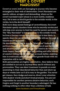 Overt & Covert Narcissist.  They can be both types depending on situation and people involved.