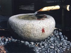 Bamboo & rock water feature