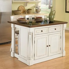 Have to have it. Home Styles Monarch 3 Piece Granite Top Kitchen Island & Stool Set - $1175 @hayneedle