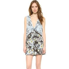 Free People Santiago Printed Romper ($99) ❤ liked on Polyvore featuring jumpsuits, rompers, night combo, floral rompers, sleeveless romper, plunge romper, floral print romper and sleeveless rompers