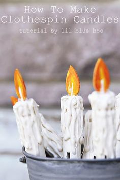 How to Make Clothespin Faux Candles - Ashley Hackshaw / Lil Blue Boo : How to Make Clothespin Faux Candles - Rustic Christmas Tree Decor Vintage Candles MichaelsMakers Primitive Christmas Ornaments, Christmas Tree Candles, Christmas Door Wreaths, Rustic Christmas, Christmas Tree Decorations, Vintage Christmas, Advent Wreaths, Christmas Tables, Xmas Trees