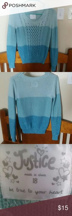Justice sweater Blue ombre sparkly girls sweater. Bought brand new for my niece she never wore it cuz didn't like the way it fit Justice size 18 Justice Shirts & Tops Sweaters