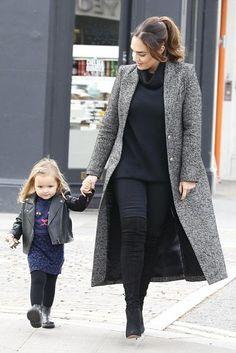 Tamara Ecclestone wearing Smythe Brando Coat and Aquazzura Giselle Cuissard Boots in Black