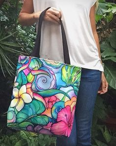 """Paradise"" tote bag by Colleen Wilcox Bags are an option for hand painted project final"