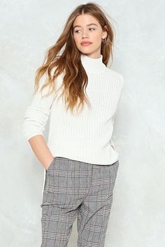 Take Knit On the Chin Ribbed Sweater