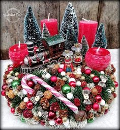 Christmas Advent Wreath, Cottage Christmas, Christmas Candles, Outdoor Christmas Decorations, Christmas Centerpieces, Christmas 2019, Xmas, Holiday Crafts, Holiday Decor