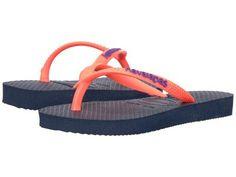 Havaianas Kids - Slim Logo Pop-Up Flip Flops (Toddler/Little Kid/Big Kid) (Navy Blue) Girls Shoes