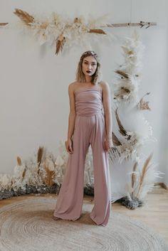 Jumpsuit Taupe — We Are Flowergirls Bridesmaid Outfit, Bridesmaids, Drapery Wedding, Ibiza Wedding, Convertible Dress, Jumpsuit Dress, Slow Fashion, Wedding Season, Designer Dresses