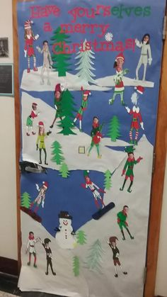 Skiing In Snow For Christmas Door Decoration In Classroom