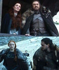 Ned, Catelyn, Sansa Stark, Jon Snow - Game of Thrones Sansa Stark, Ned Stark, Jaime Lannister, Cersei Lannister, Daenerys Targaryen, Khaleesi, Got Game Of Thrones, Game Of Thrones Funny, Khal Drogo